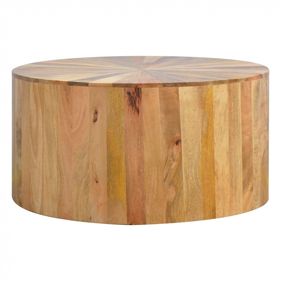 - Solid Oak Finished Mango Wood Round Coffee Table - Mango Wood Furniture