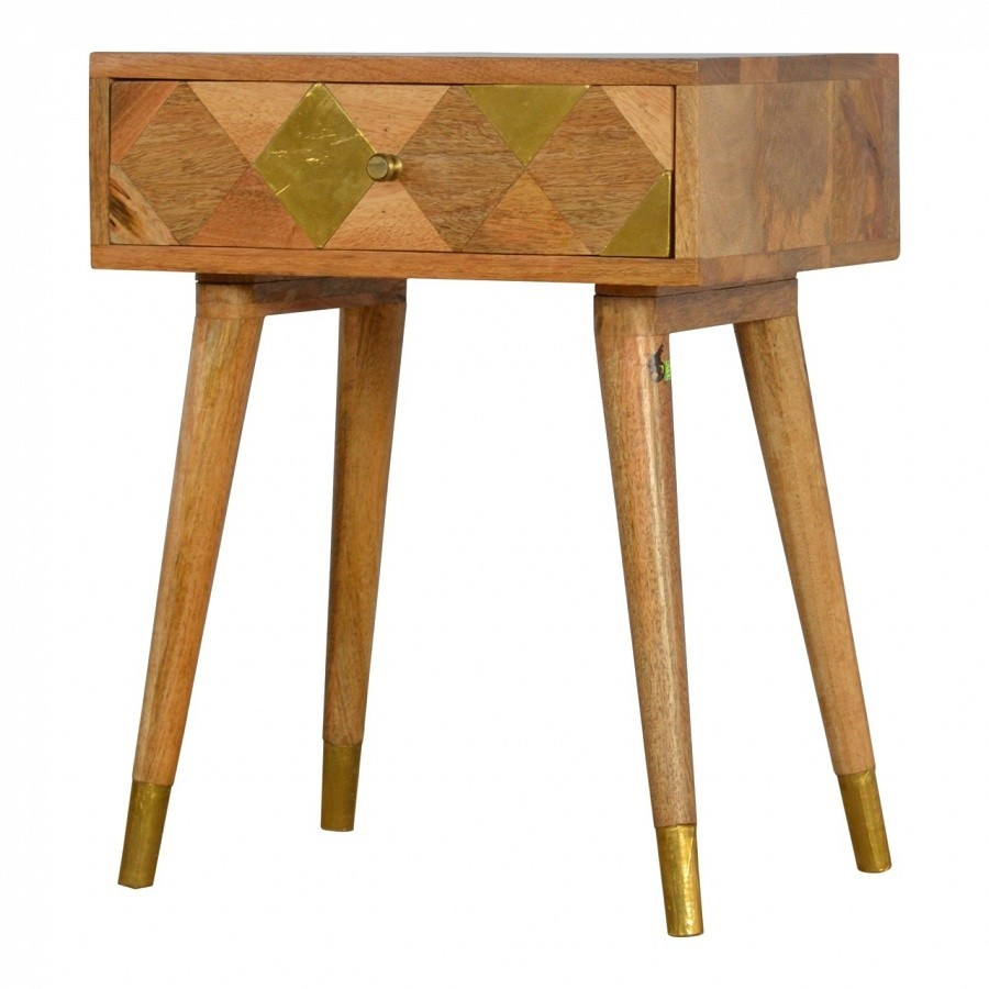 Solid Oak Finished Mango Wood Brass Inlay One Drawer ...