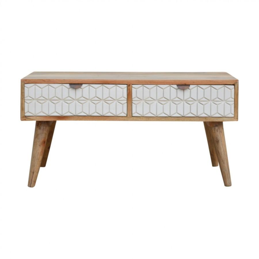 Solid Oak Finished Mango Wood 2 Tone Sleek White Four Drawer Coffee Table