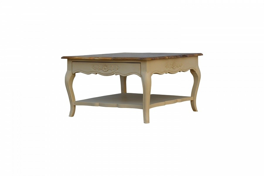 Solid Two Tone Cream And Oak Finished Mango Wood Coffee Table On Demand Item Allow Minimum 8 12 Weeks For Delivery