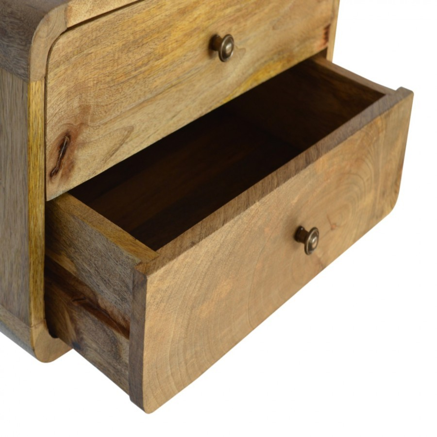 Solid Oak Finished Mango Wood 2 Drawer Curved Wall Mounted ...