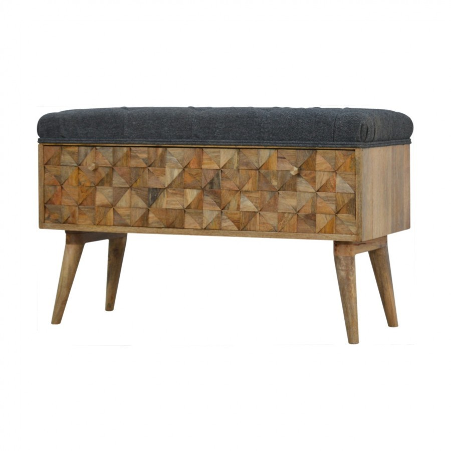 Tremendous Solid Mango Wood Oak Finished Diamond Carved Storage Bench With Grey Tweed Top In Production Caraccident5 Cool Chair Designs And Ideas Caraccident5Info