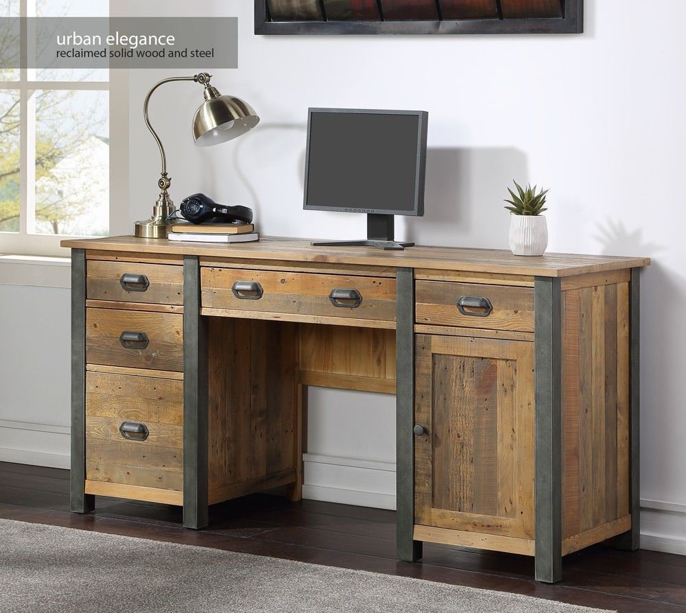 Reclaimed Twin Pedestal Home Office Desk