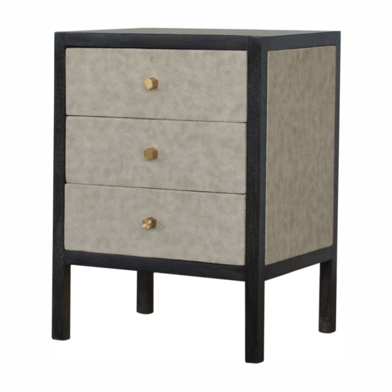 Picture of: Solid Mango Wood Black Ash And Faux White Leather Covered Bedside Table Cabinet Mango Wood Furniture